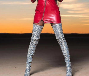 Snakeskin Over the Knee Boots - Fashionsarah