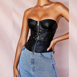 Strapless Leather Top - Fashionsarah.com