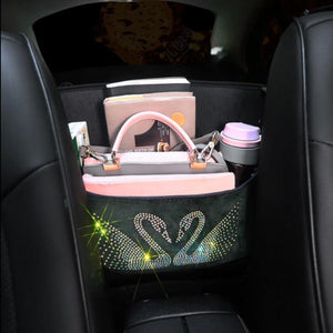 Rhinestone Storage Bag Organizer, Barrier of Backseat