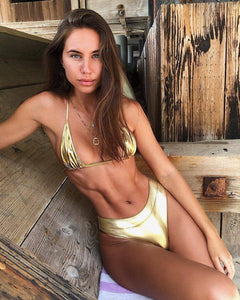 Silver/Gold Leather Bikini - Fashionsarah.com