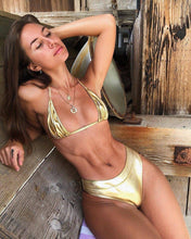 Load image into Gallery viewer, Silver/Gold Leather Bikini - Fashionsarah.com