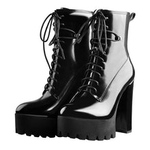 Load image into Gallery viewer, Leather Platform Ankle Boots