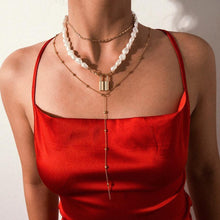Load image into Gallery viewer, Multi Layered Pearl Choker