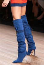 Load image into Gallery viewer, Denim Cowboy Boots