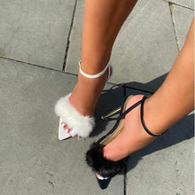 Load image into Gallery viewer, Furry Peep Toe Heels - Fashionsarah.com