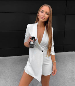 Fashion Playsuit Blazer 3/4 Sleeve - Fashionsarah.com