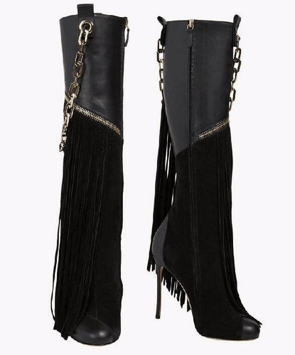 Stiletto Boots with Chains - Fashionsarah.com