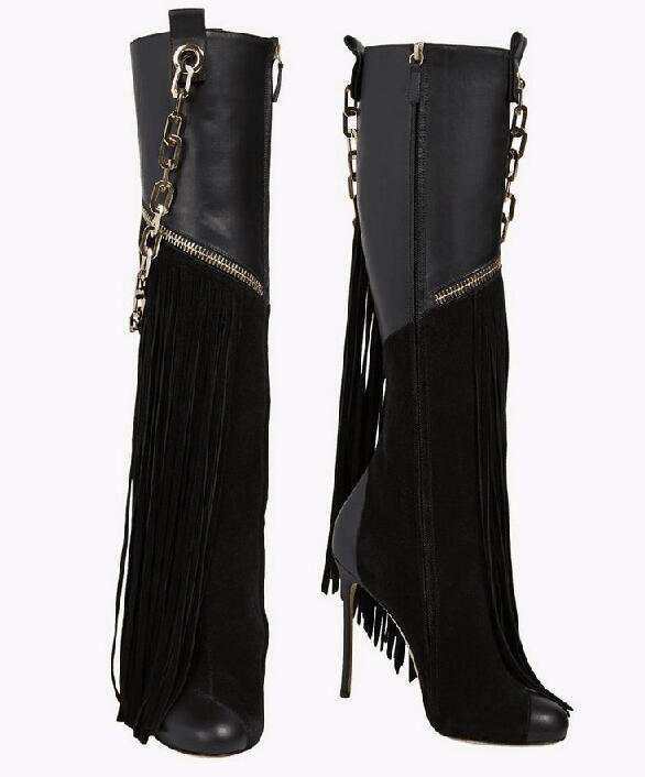 Stiletto Boots with Chains