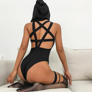 Sexy Black Hooded Bodysuit! - Fashionsarah