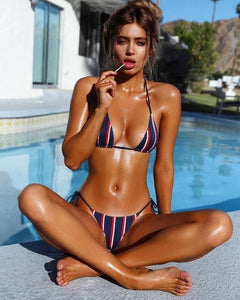 Triangle Striped Bikinis - Fashionsarah