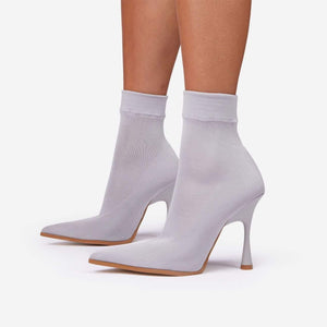 Grey Pointed Toe Ankle Boot - Fashionsarah.com