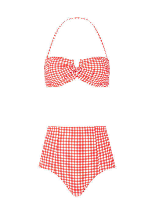 CAPRI CHECK HIGH WAISTED BIKINI PANTS