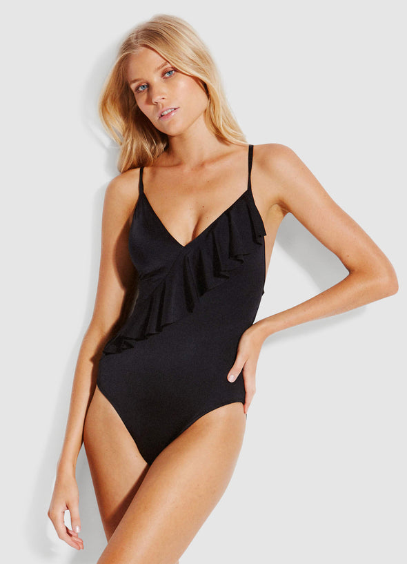 SHINE ON FRILL FRONT ONE PIECE