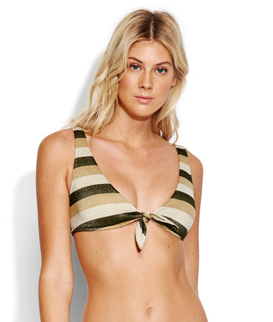 SUNSET STRIPE TIE FRONT CROP BIKINI TOP