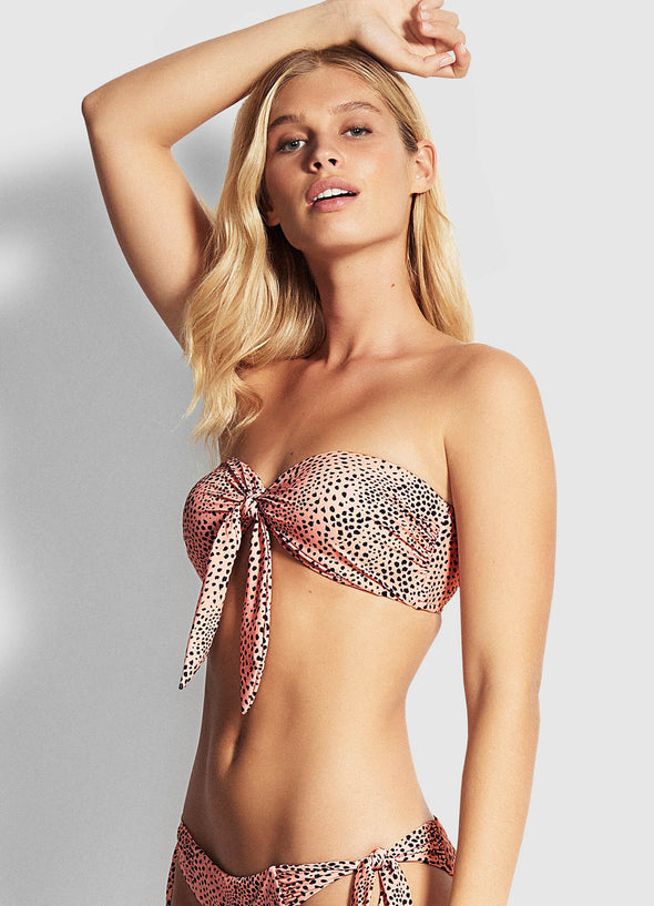 SAFARI SPOT TWIST TIE FRONT BANDEAU BIKINI TOP