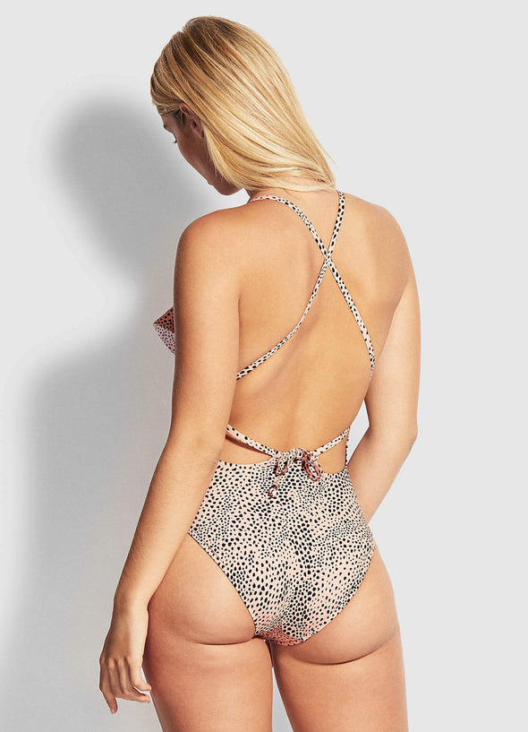 SAFARI SPOT FRILL FRONT ONE PIECE