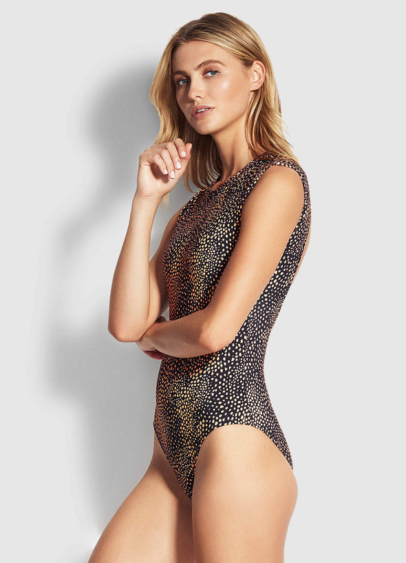 SAFARI SPOT CAP SLEEVE ONE PIECE