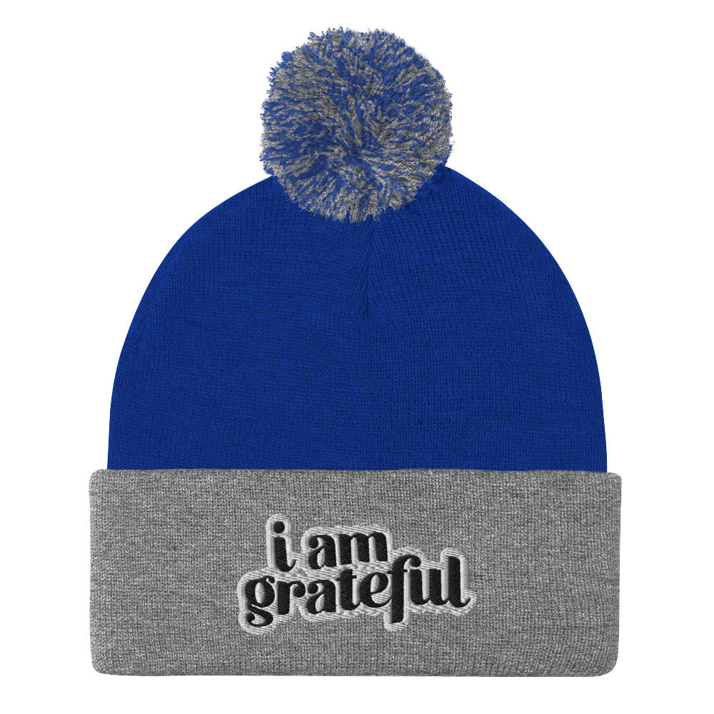 I Am Grateful Pom-Pom Beanie