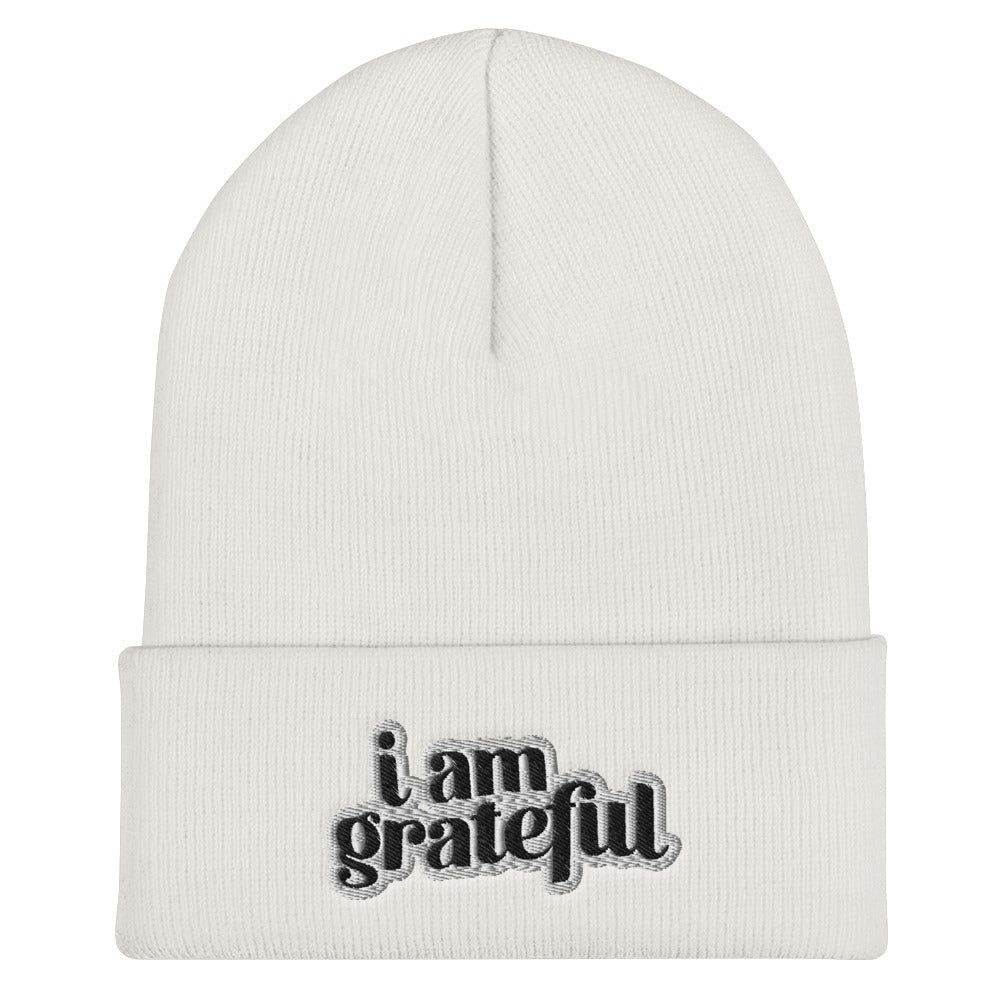 I Am Grateful Cuffed Beanie
