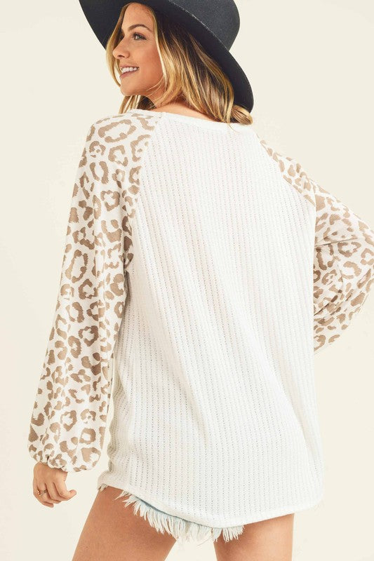 Valencia Lee Leopard Sleeve Top | URBAN ECHO SHOP