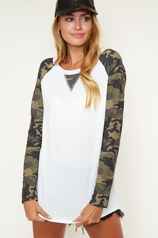 Camouflage Raglan Top | URBAN ECHO SHOP