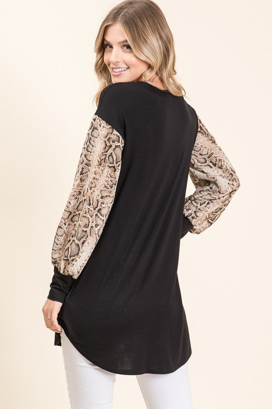 Sarella Snakeskin Sleeve Top | URBAN ECHO SHOP