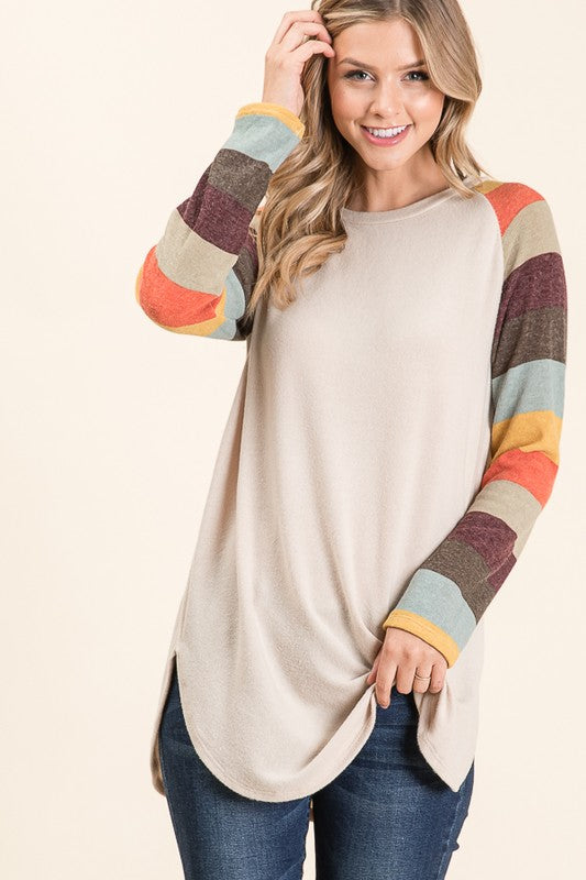 Piper Casual Long Sleeve Raglan Top | URBAN ECHO SHOP