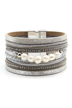 Silver Pearl and Leather Cuff | URBAN ECHO SHOP