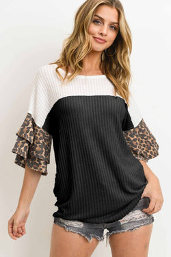 Fresca Colorblock Ruffle Sleeve Top | URBAN ECHO SHOP