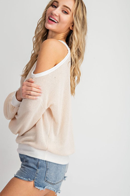 Siesta Faye Long Sleeve Cold Shoulder Top | URBAN ECHO SHOP