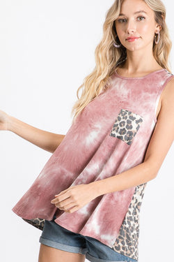 Lakely Tie Dye + Leopard Tank | URBAN ECHO SHOP