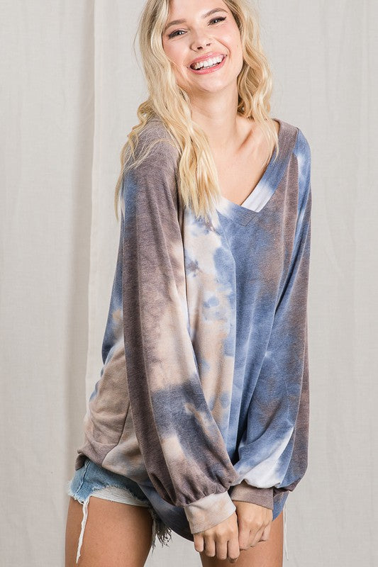 Bloxy Splash Tie Dye V-Neck Top | URBAN ECHO SHOP