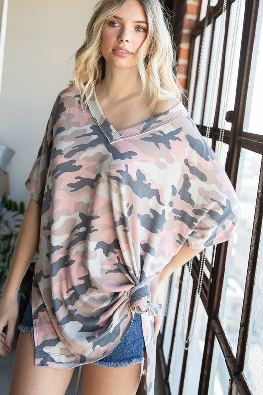 Everly Cay Over Sized Army Print Top | URBAN ECHO SHOP