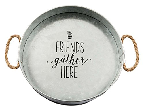 Friends Gather Here Galvanized Metal Serving Tray | URBAN ECHO SHOP