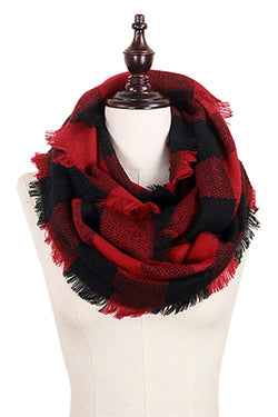Buffalo Plaid Infinity Scarf, Red & Black | URBAN ECHO SHOP