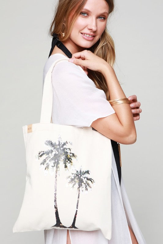 Palm Tree Canvas Shoulder Bag | URBAN ECHO SHOP