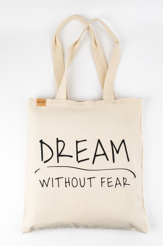 'Dream Without Fear' Canvas Shoulder Tote | URBAN ECHO SHOP