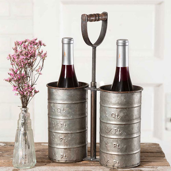 Rustic Bottle Caddy with Handle | URBAN ECHO SHOP