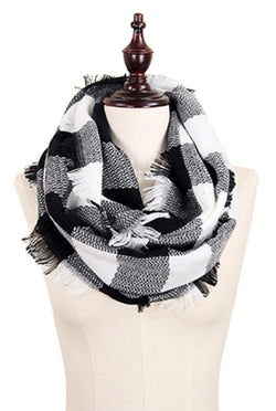 Buffalo Plaid Infinity Scarf, Black & White | URBAN ECHO SHOP