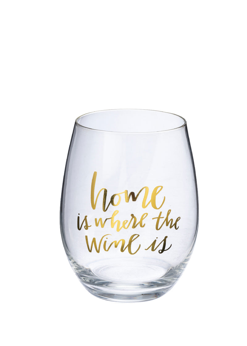 """Home Is Where the Wine Is"" Wine Glass w/Gift Box 