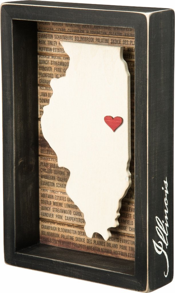 Illinois Box Sign with Heart | URBAN ECHO SHOP