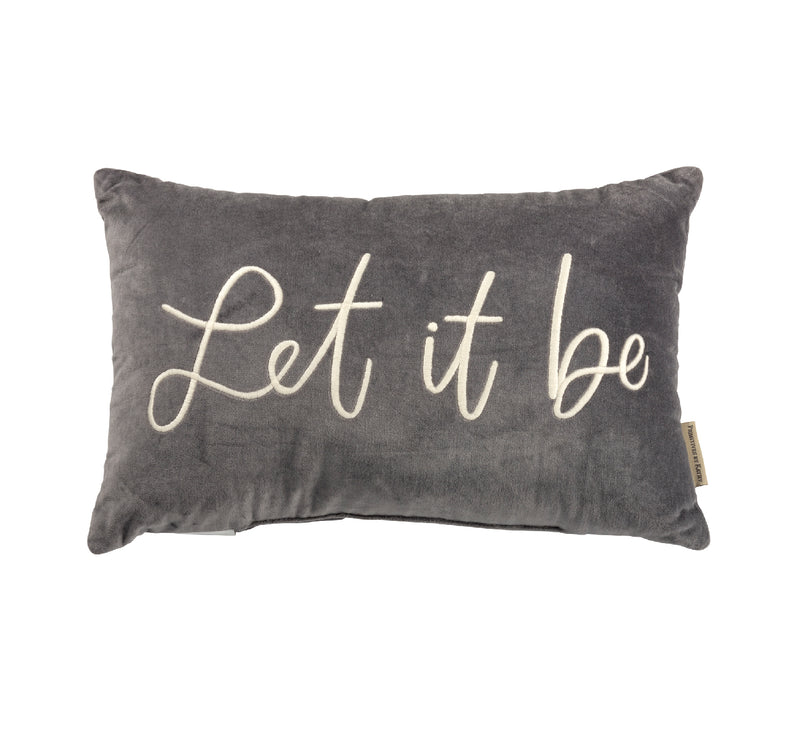 'Let It Be' Gray Velvet Throw Pillow | URBAN ECHO SHOP