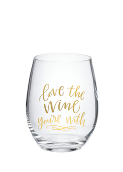 """Love the Wine You're With"" Wine Glass w/Gift Box 
