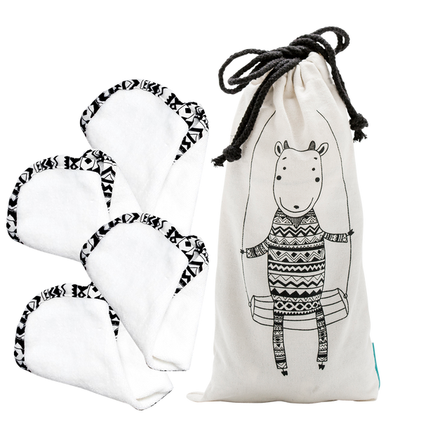 Gilly Goat Lush Plush Wash Cloth  Duo (x2) & Gilly Goat Canvas Bag