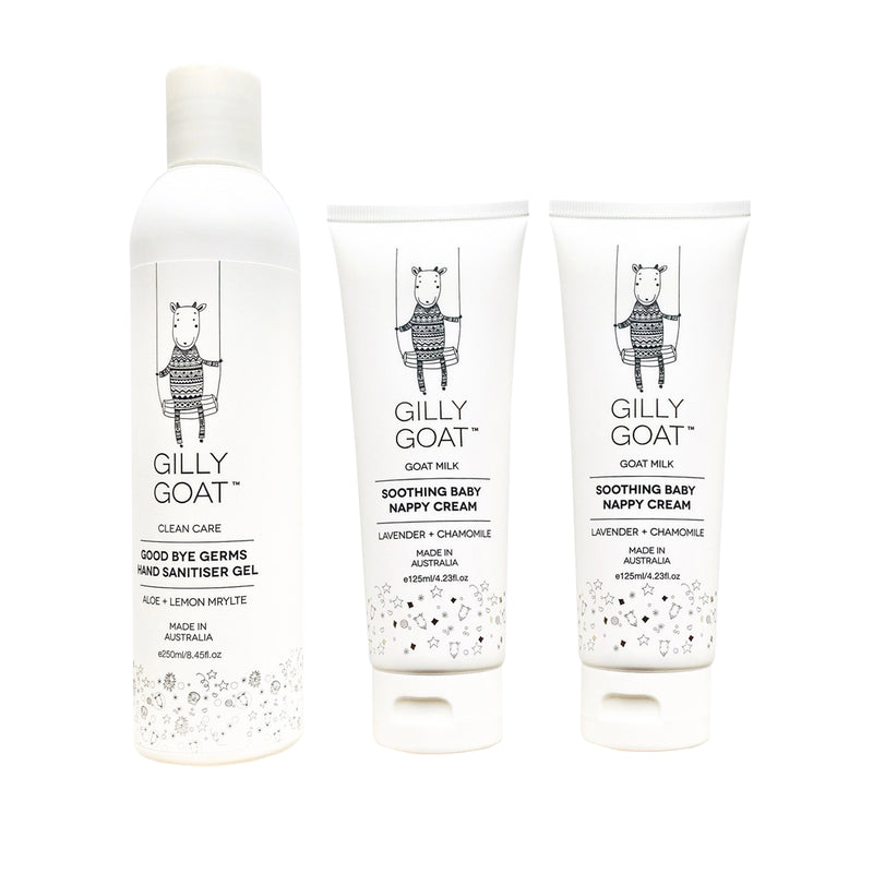 Sanitiser & Nappy Creams Clean Care Set