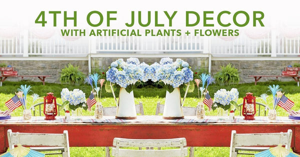 4th of July Decor with Artificial Plants + Flowers