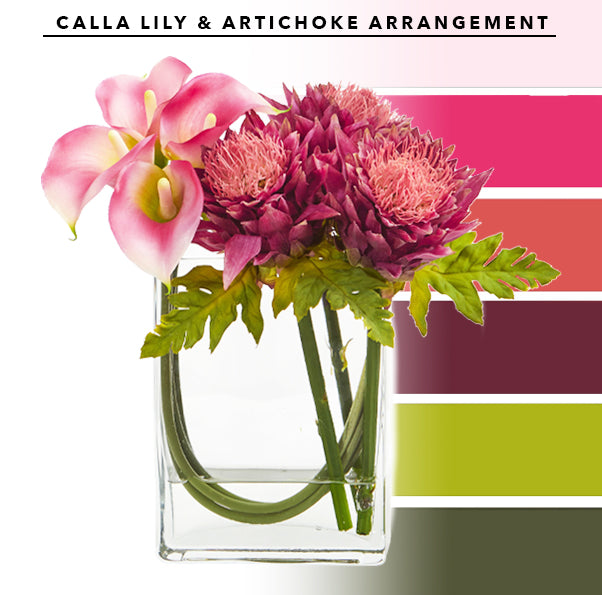 Calla Lily And Artichoke In Rectangular Glass Vase Artificial Arrangement