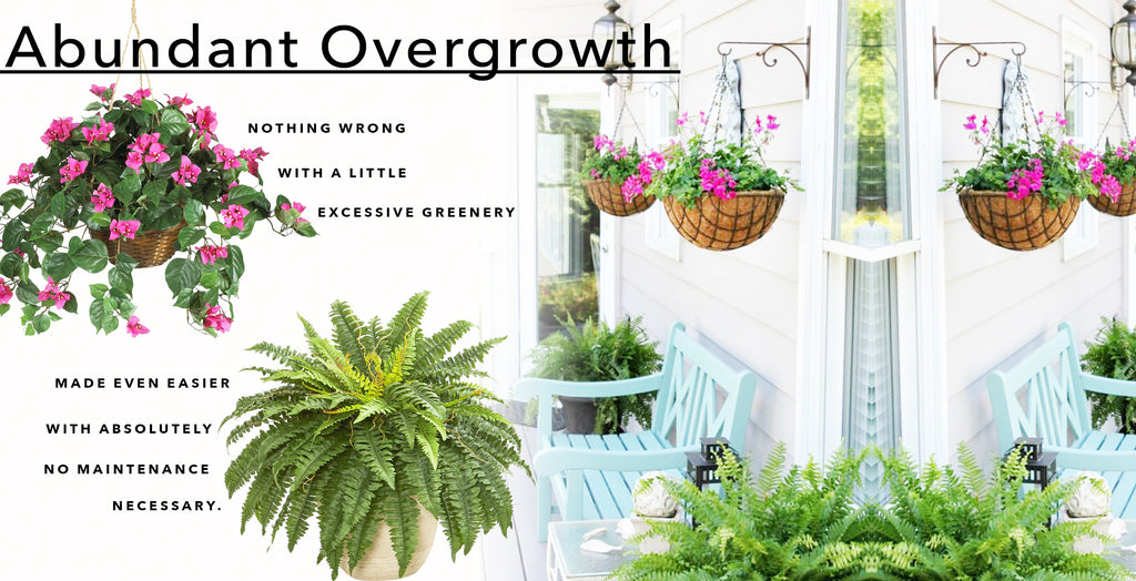 Fake & Artificial Silk Plants For Patio Perfection Abundant Overgrowth