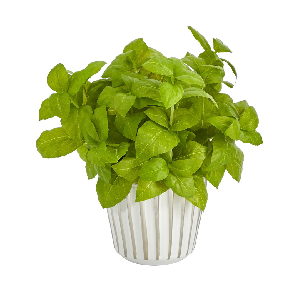 "10"" Basil Artificial Plant in White Planter with Silver Trimming"