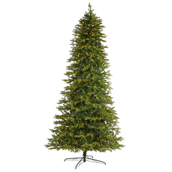 "10' Belgium Fir ""Natural Look"" Artificial Christmas Tree with 1050 Clear LED Lights"